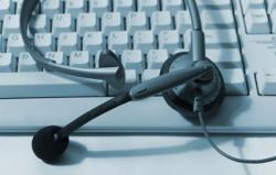 computer keyboard with microphone headset